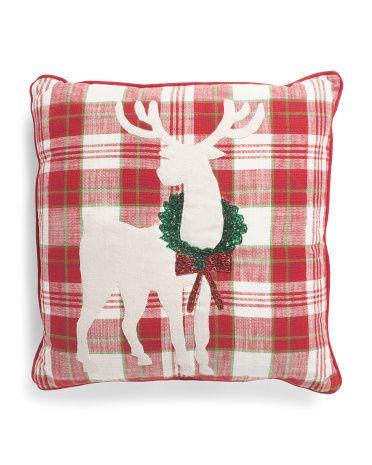 Made In India 20x20 Deer Plaid Pillow Throw Pillows T J Maxx