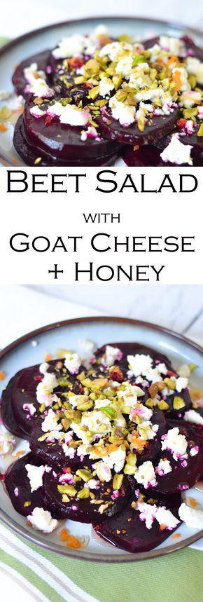Beet, honey, + goat cheese salad