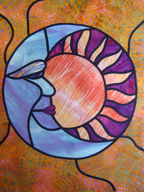 Sun/Moon, stained glass art quilt by Robbie Payne | Art Quilts Around the World