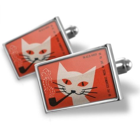 Select Gifts Cuff Links Black Cat Cufflinks~pet~Feline Engraved Personalised Box