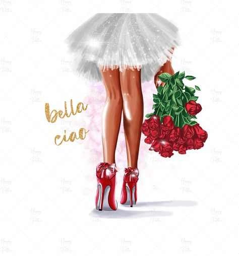 Fashionable,Fashion Clipart, African girl clipart, Elegant clipart, Fashion Girl, Girly clipart, pink gold, rose for her, high heels clipart
