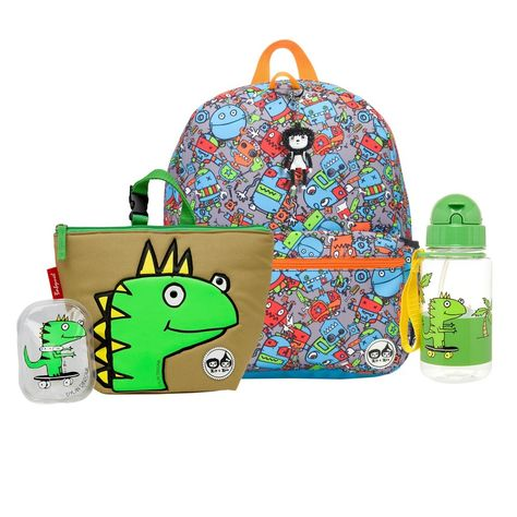 Zip   Zoe Junior Backpack with Lunch Bag and Water Bottle - Robots Blue Dylan  Dino f2c56adb31