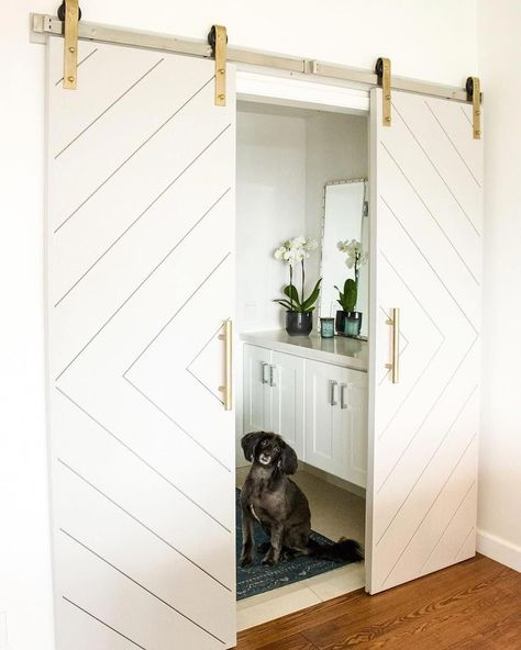 This kind of blue interior barn doors is genuinely a formidable design approach. Timber Sliding Doors, Sliding Garage Doors, Double Barn Doors, Sliding Glass Door, Glass Doors, Modern Barn Doors, Diy Barn Door, Barn Door Hardware, Barn Door Pantry