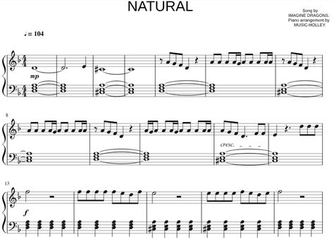 Imagine Dragons Natural Easy Piano Sheets Pdf With Images