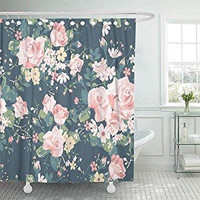 Amazon Com Emvency Shower Curtain Waterproof Blue Floral Vintage