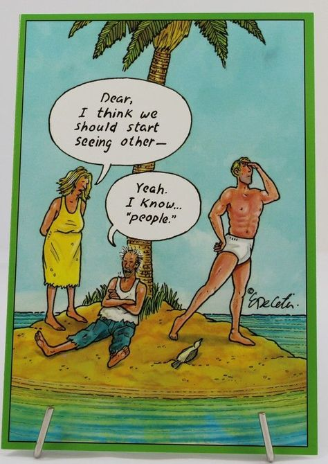 Details about Birthday Card, Humorous, Cartoons By Eric Decetis Deserted Island Shipwrecked