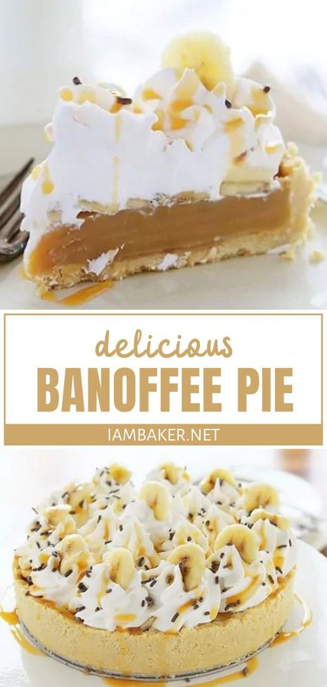 This recipe for Banoffee Pie is an amazing and modernized take on the traditional! A rich toffee filling is paired with a buttery shortbread crust then covered in whipped cream swirls. sprinkles and caramel. The flavor combination in this popular dessert is phenomenal!