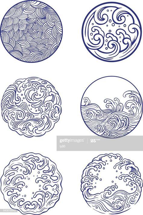 Set of 6 wave design