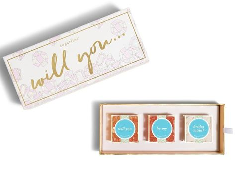 Sugarfina candy box great for a bridesmaid proposal for your best friends #bridesmaidproposal #weddingpartygifts #bridesmaids