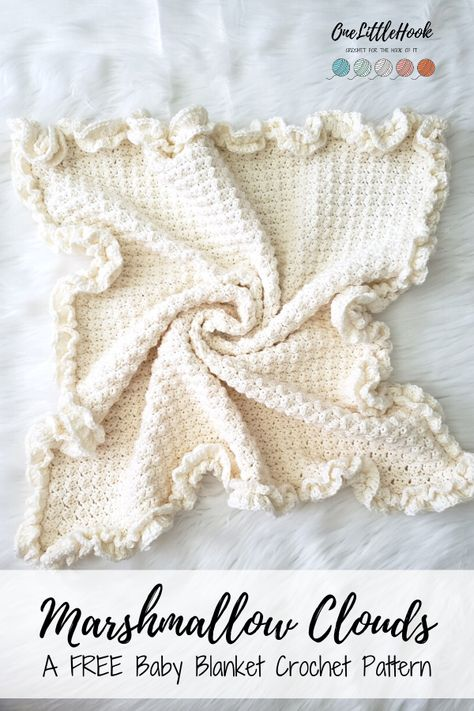 Unique Crochet, Modern Crochet, Easy Crochet, Crochet Ideas, Free Crochet, Crochet Baby Blanket Free Pattern, Tunisian Baby Blanket, Crochet Baby Blanket Beginner, Crochet Ruffle