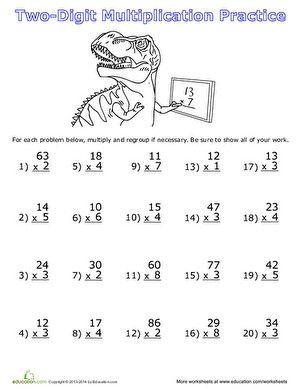 Two Digit Multiplication Math Multiplication Worksheets