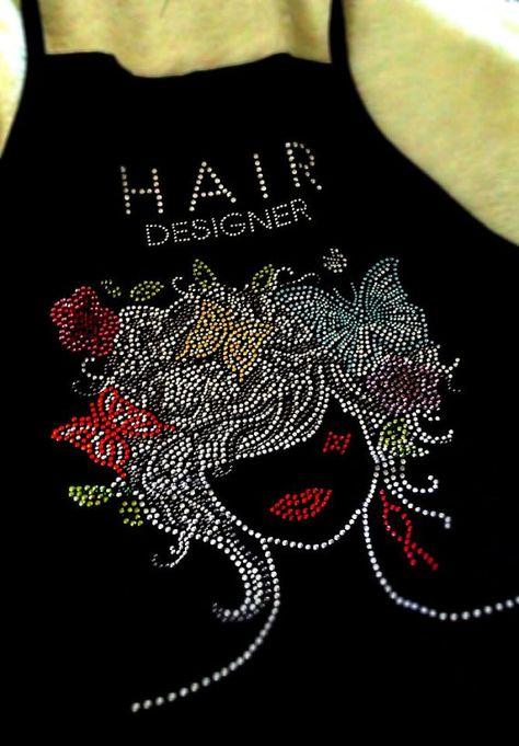 Items similar to Hairstylist Apron, Hair Stylist Apron, Rhinestone Face, Butterflies, Hair Designer on Etsy