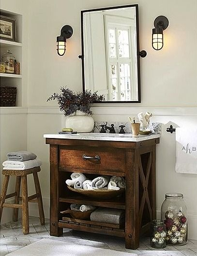 16 Awesome Vanity Ideas For Small Bathrooms Pottery Barn Bathroom Decor Barn Bathroom Pottery Barn Bathroom