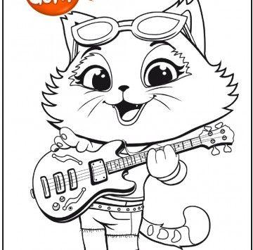 44 Gatti Disegno Milady Con La Chitarra Da Colorare Cartoni Animati Disegni Da Colorare Schema Artistico Festa A Tema Gatti