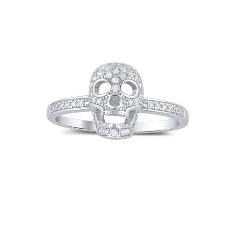 Sterling Silver Pave Cz Small Skull Ring - SilverCloseOut - 2