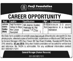 Fauji Foundation Lecturers Islamic Studies Male Jobs Apply
