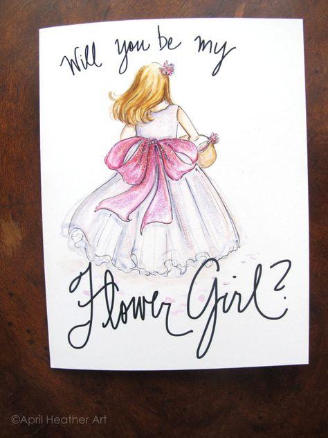 Flower Girl Gift Will You Be My Flower Girl Card Deer Flower Girl Card Bridal Party Card - Flower Girl Proposal Card FPS0009