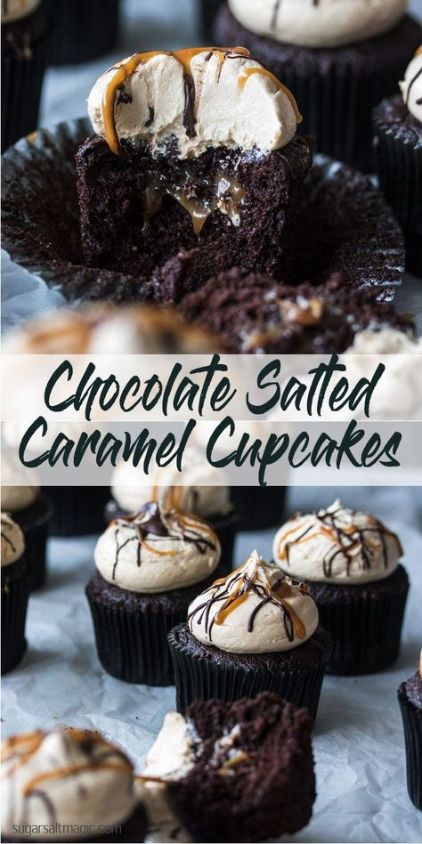 Salted Caramel Chocolate Cupcakes combine rich, moist chocolate cupcakes with and easy salted caramel filling and salted caramel buttercream. This is the best kind of indulgence, right here. via Cupcakes Salted Caramel Chocolate Cupcakes Easy Cheesecake Recipes, Easy Cookie Recipes, Sweet Recipes, Dessert Recipes, Fast Recipes, Top Recipes, Recipes Dinner, Healthy Recipes, Chocolate Caramels