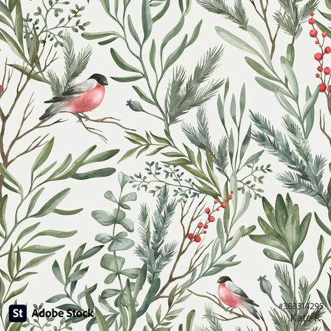 Seamless pattern with winter leaves, branches, berries, and a bird