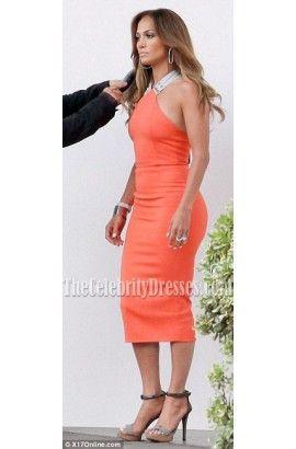 Tangerine Knee Length Dress