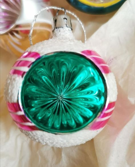 Vintage Caliks Artistry 2 Sided Christmas Handcrafted Glass Ornament Poland NIB