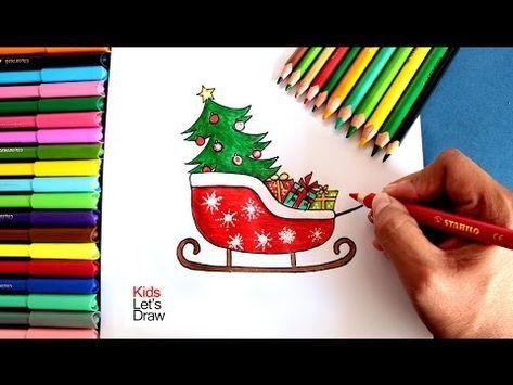 Cã Mo Dibujar El Trineo De Papa Noel Navidad How To Draw Santa Claus Sled Youtube Trineo De Navidad Dibujo De Navidad Arte De Manualidades Fáciles