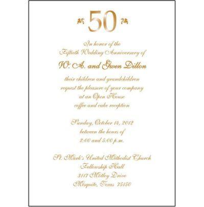 Wedding Anniversary Invitation 50th Wedding Anniversary