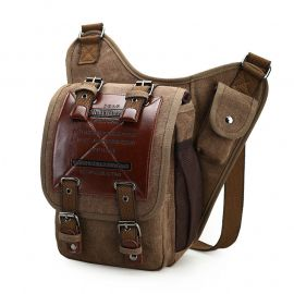ef3b88adccfc Brand Retro Leather Canvas Military Army Style Men Messenger Shoulder  Crossbody Bag