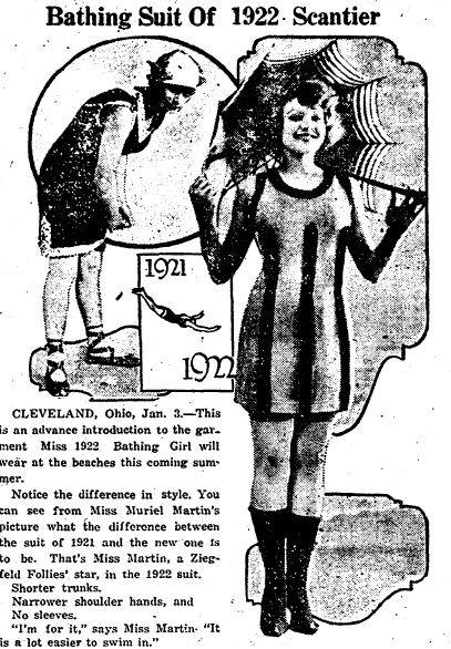 "A newspaper ad for the latest swimsuit fashion, published in the Miami District Daily News (Miami, Oklahoma), 3 January 1922. Read more on the GenealogyBank blog: ""Great-Grandmother's Swimsuit in Vintage Fashion Articles & Photos."" http://blog.genealogybank.com/great-grandmothers-swimsuit-in-vintage-fashion-articles-photos.html"