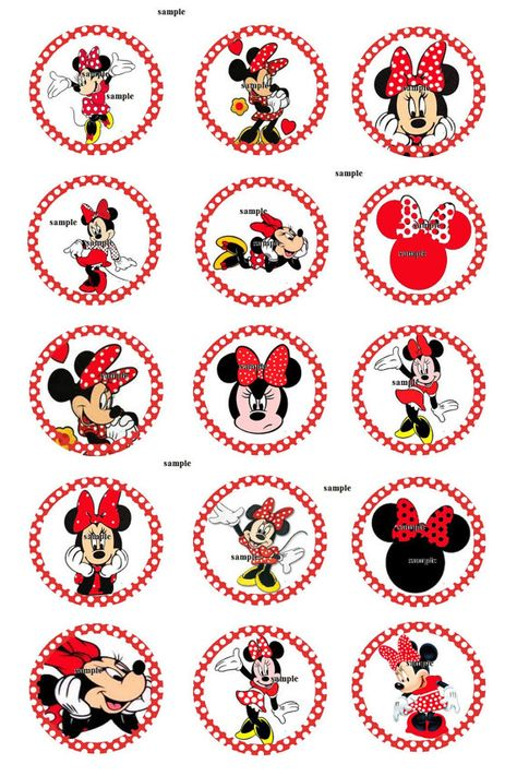 disney inspired Minnie mouse INSTANT DOWNLOAD 1 Inch circle 4x6 digital bottle cap hair bow Birthday party Collage scrapbook