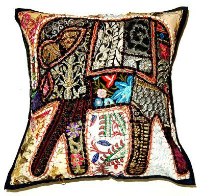 """Indian 16/"""" Elephant Hand Embroidered Cushion Pillow Cover Sofa Throw Home Decor"""