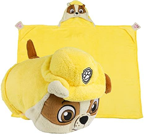 Comfy Critters Paw Patrol Rubble Kids Stuffed Animal Dog Blanket Huggable Toy Pillow Perfect For Play Travel In 2021 Dog Blanket Animals For Kids Rubble Paw Patrol