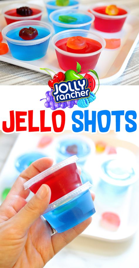 Jolly Rancher Jello Shots Recipe (Blue Raspberry + Tropical Punch)   Great adults cocktail for parties and summer bbq's. #jelloshots #drinks #recipes #cocktails #cocktailrecipes #yummy