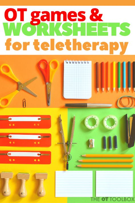 These teletherapy games and online worksheets can be used in virtual occupational therapy sessions for online OT with kids. Ocupational Therapy, Therapy Games, Therapy Tools, Therapy Ideas, Occupational Therapy Schools, Handwriting Activities, School Ot, Online Games For Kids, Therapy Worksheets