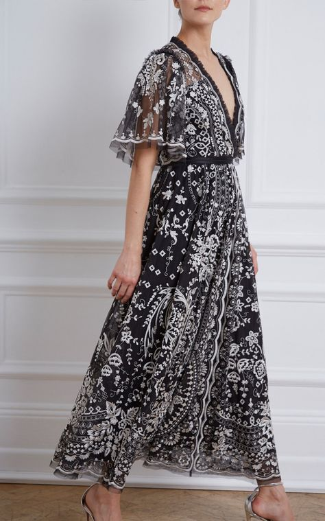 Trudy Belle Embellished Tulle Ankle-Length Gown by Needle & Thread | Moda Operandi