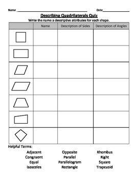 Describing Quadrilaterals | Math Skills | Third grade math, Math ...