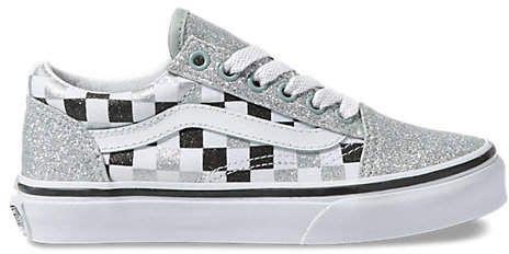 Kids Glitter Checkerboard Old Skool