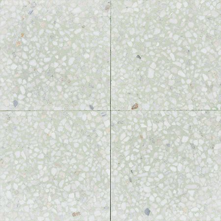 Set Of Four Pastel Green Terrazzo Tiles With White Marble Chips From Mosaic Factory S Terrazzo Collection Marble 10 M Terrazzo Terrazzo Tile Terrazzo Flooring