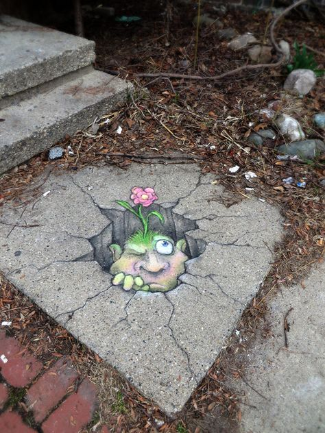 Chalk Art by David Zinn in Michigan, USA Good example of street art. Murals Street Art, 3d Street Art, Street Art Utopia, Amazing Street Art, Street Art Graffiti, Street Artists, Amazing Art, Graffiti Artists, Usa Street