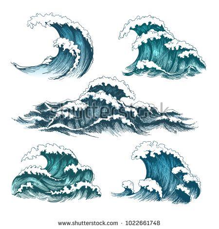 Sea Waves Vintage Cartoon Ocean Tidal Stock Vector (Royalty Free) 1022661748