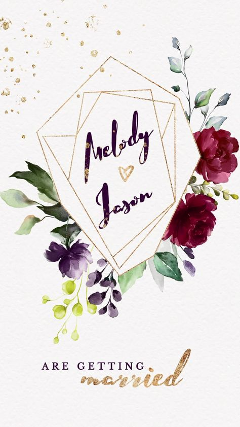 Burgundy Gold Floral Wedding Invitation Video