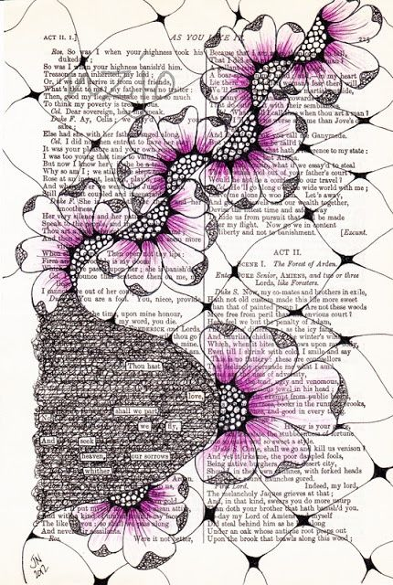 Found Poetry combined with Zentangle by Thou hath love. We fly and seek Heaven Our sorrows wither. by Jo of New Zealand Kunstjournal Inspiration, Art Journal Inspiration, Poetry Lessons, Art Lessons, Tangle Doodle, Doodle Art, Altered Books, Altered Art, Zantangle Art