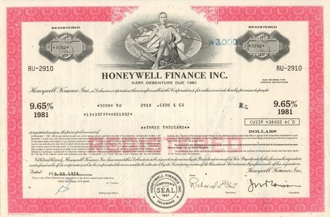 Honeywell Finance Inc bond certificate 1970u0027s old stock - example of share certificate