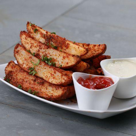 Baked Garlic Parmesan Potato Wedges Recipe by Tasty