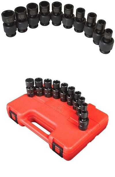 3657 Drive Universal Impact Socket Set Sunex 3//8 in 10-Piece