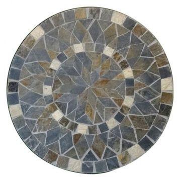 Mosaiktisch Aus Naturstein Blume Grau Braun O 60 Cm H 71 Cm