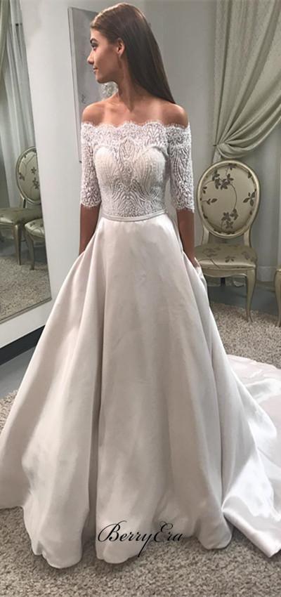 Off Shoulder Half Sleeves Lace Top Satin Skirt Wedding Dresses Berryera Lace Wedding Dress Vintage Lace Wedding Dress With Sleeves Sweep Train Wedding Dress