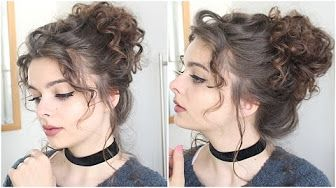 6 Hair Tutorial A Quick Easy And Messy Updo For Curly Hair Youtube Messy Curly Hair Curly Bun Hairstyles Messy Bun Curly Hair