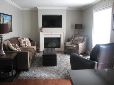 Grey And Brown Living Room grey +wall +brown +couch design ideas, pictures, remodel, and