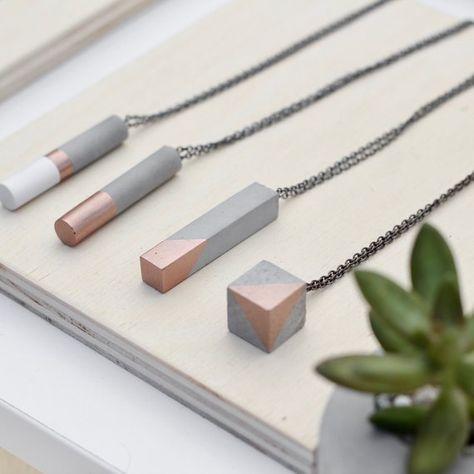 Concrete Bar Necklace in Rose Gold Geometric Pendant